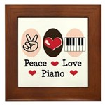 Peace Love Piano Framed Tile