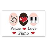 Peace Love Piano Rectangle Sticker 10 pk)