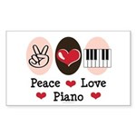 Peace Love Piano Rectangle Sticker 50 pk)