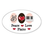 Peace Love Piano Oval Sticker