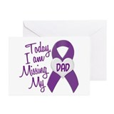 Missing My Dad 1 PURPLE Greeting Cards (Pk of 10)