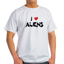 I LOVE ALIENS Ash Grey T-Shirt