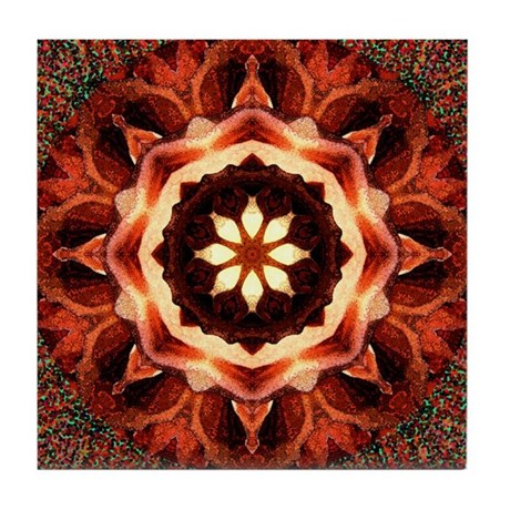Kaleidoscope Rose Tile Coaster