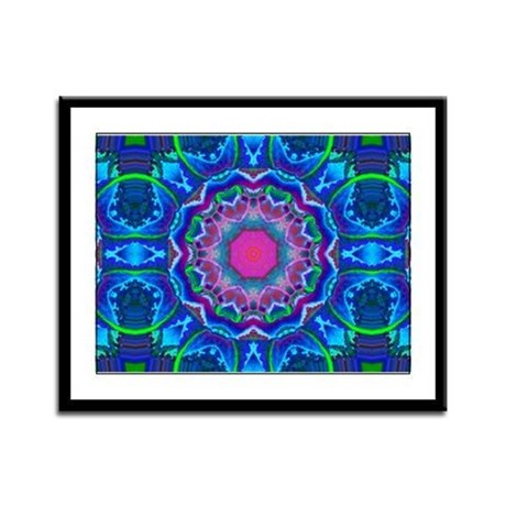 Cyberdelic Kaleidoscope Framed Panel Print