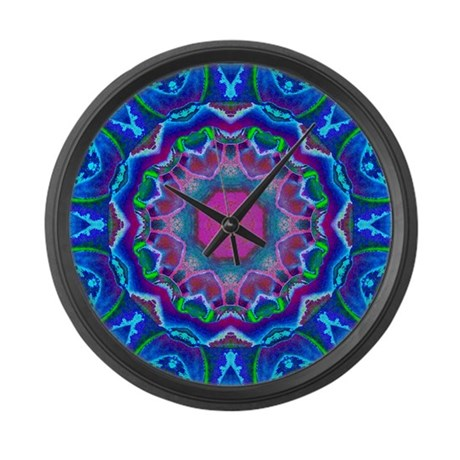 Cyberdelic Kaleidoscope Large Wall Clock