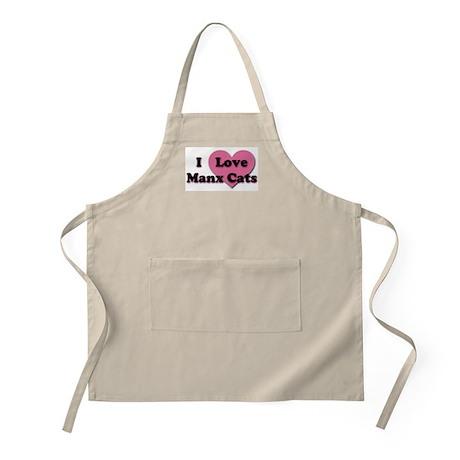 Pink Heart Manx Cats BBQ Apron
