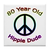 Hippie Dude 80th Birthday Tile Coaster