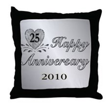 25th Anniversary - Silver Throw Pillow