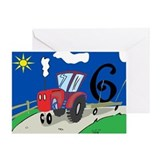 6th Birthday Tractor Greeting Card