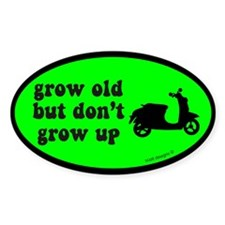 Grow Old, Not Up Green Oval Sticker (10 pk)