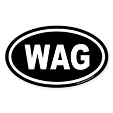WAG the Dog Black Euro Oval Decal