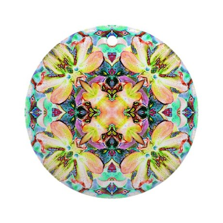 Four Flower Kaleidoscope Ornament (Round)