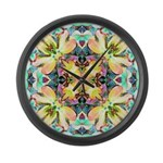 Four Flower Kaleidoscope Large Wall Clock