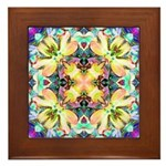 Four Flower Kaleidoscope Framed Tile
