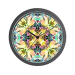 Four Flower Kaleidoscope Wall Clock