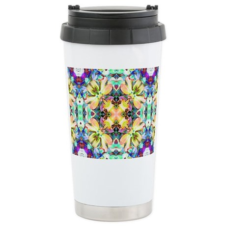 Four Flower Kaleidoscope Ceramic Travel Mug