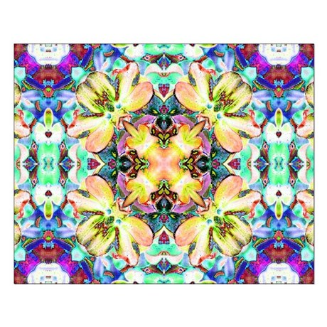 Four Flower Kaleidoscope Small Poster