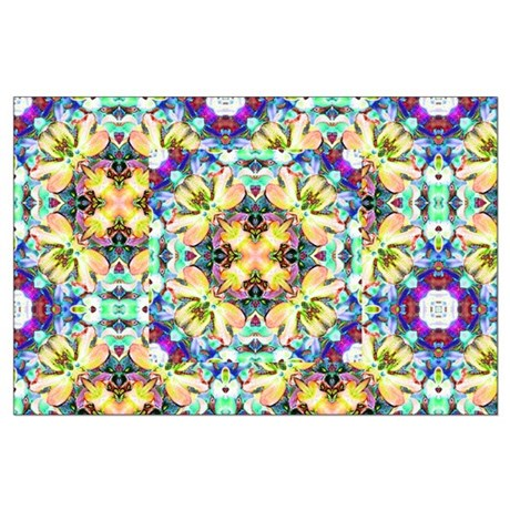 Four Flower Kaleidoscope Large Poster
