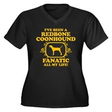 Redbone Coonhound Women's Plus Size V-Neck Dark T-