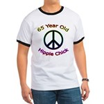 Hippie Chick 65th Birthday Ringer T