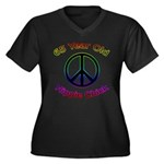 Hippie Chick 65th Birthday Women's Plus Size V-Nec