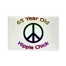 Hippie Chick 65th Birthday Rectangle Magnet