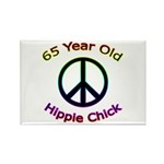 Hippie Chick 65th Birthday Rectangle Magnet (100 p