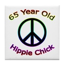 Hippie Chick 65th Birthday Tile Coaster