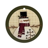 Snowman On Plaid Ornament (Round)