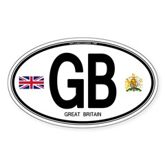 Great Britian (GB) Euro Oval Oval Sticker (50 pk)