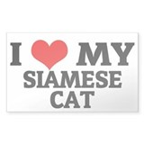 I Love My Siamese Cat Rectangle Decal
