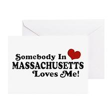 Somebody in Massachusetts Loves Me Greeting Cards