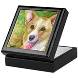Unique Colorful original corgi art Keepsake Box