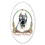 Schnauzer Happy Holiday Oval Bumper Stickers