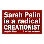 Sarah Palin: Radical Creationist bumper sticker