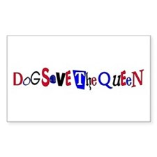 Dog Save the Queen Rectangle Sticker 50 pk)