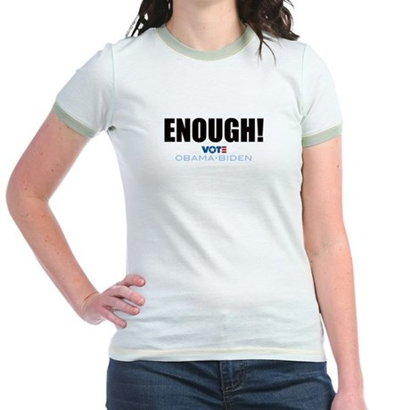 ENOUGH! Vote Obama Biden Jr. Ringer T-Shirt