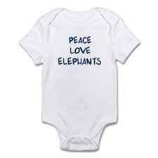 Peace, Love, Elephants Infant Bodysuit