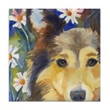 Cute Shetland sheepdog art Tile Coaster