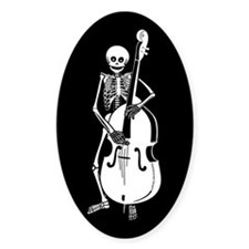 Upright Bass Skeleton Oval Decal