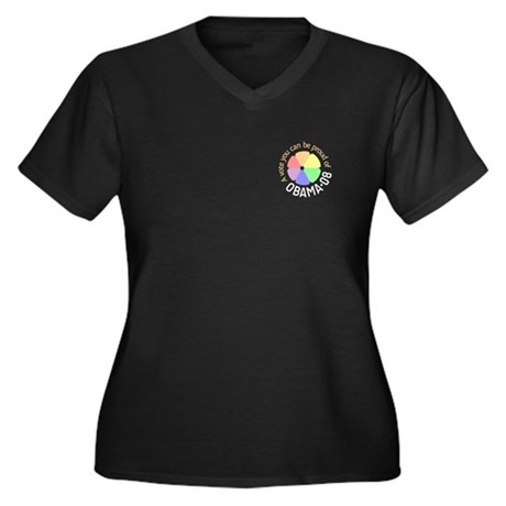 Proud of Obama Vote Women's Plus Size V-Neck Dark
