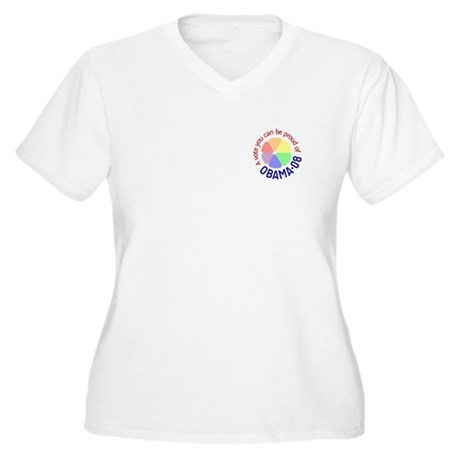 Proud of Obama Vote Women's Plus Size V-Neck T-Shi