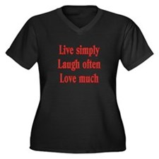 Live simply Women's Plus Size V-Neck Dark T-Shirt