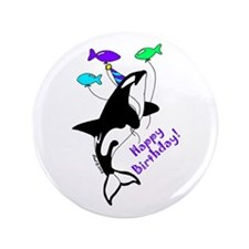 "Orca Birthday 3.5"" Button"