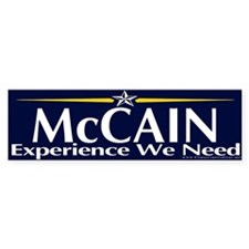 McCain, Experience We Need Bumper Bumper Sticker
