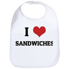I Love Sandwiches Bib
