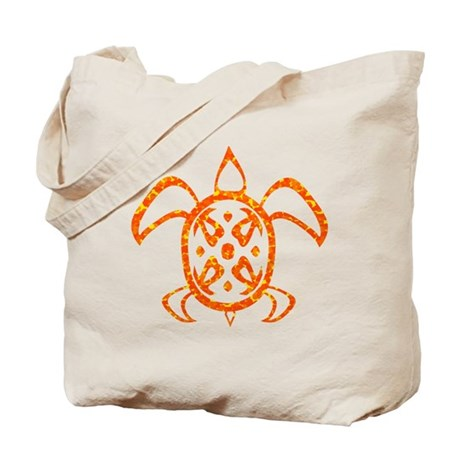 Orange Sea Turtle Tote Bag
