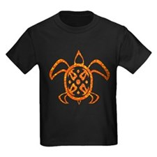 Orange Sea Turtle Kids Dark T-Shirt