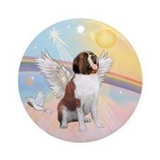Saint Bernard Angel in Heaven Ornament (Round)