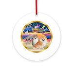 Xmas Star/2 Pomeranians Ornament (Round)
